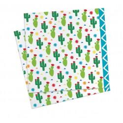 Serviettes Lama, couverts lama, lama, anniversaire lama, serviettes cactus, cactus, anniversaire cactus, cactus verts,