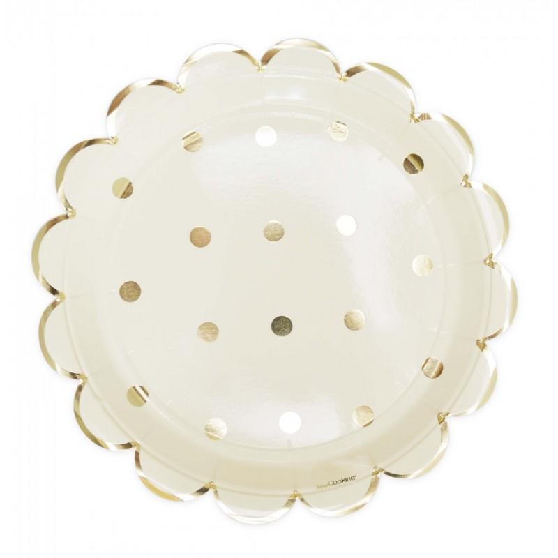 Assiettes Gold, assiettes dorées, assiettes blanches et dorées, anniversaire doré et blanc, couverts dorés et blancs, assiettes