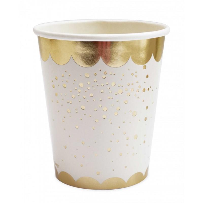 Gobelets Gold, gobelets dorés, gobelets blancs et dorés, verre dorés, verres gold, couverts dorés, couverts gold, anniversaire d