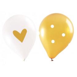 """Ballons """"Gold"""", ballons dorés et blancs, ballons de fête doré et blanc, ballon avec point et coeur doré, anniversaire doré,"""