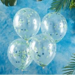 """Ballons """"bleu-vert"""", ballons confétis, ballons rigolos, anniversaire vert et bleu, décos anniversaire, décos anniversaire vert,"""