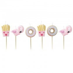 Bougies donuts, bougies, décos gâteau, donuts, bougie rose, bougie flamant rose, bougies rigolottes, flamant rose, donuts,