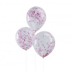 Ballons à confettis rose, ballon rose, ballon drôle, décos rose, confettis, anniversaire rose, décos