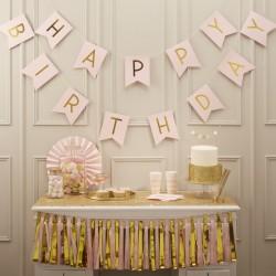 """Guirlande """"Happy Birthday"""", décos anniversaire, guirlande joyeux anniversaire, guirlande rose, happy birthday, fête d'anniversai"""