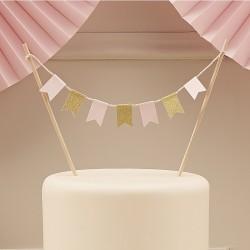 """Toppers """"Fanion"""", topper, fanion, décos anniversaire, décos de gâteau, décos roses, décoration gâteau fanions"""