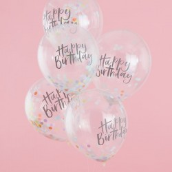 """Ballons """"Happy birthday"""" à confettis, ballon happy birthday, ballons joyeux anniversaire, ballons confettis, ballons rigolo, bal"""
