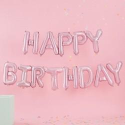 """Ballons """"Happy Birthday"""", ballons lettres, ballons lettres rose, happy birthday, décos joyeux anniversaire, décos rose, ballons"""