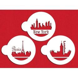 Pochoir Paris, London & New York Skylines