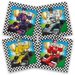 Serviettes Formule 1, serviettes circuit, anniversaire formule 1, serviette papier pneux, serviette en papier formule 1,  circui