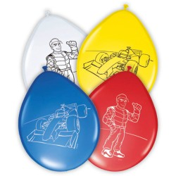 Ballons Formule 1, ballons rouge formule1, ballons bleus formule1, formule 1, ballons circuit de voiture