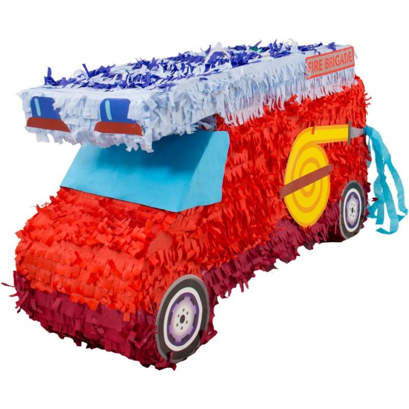 """Piñata """"Camion pompier"""", anniversaire sam le pompier, anniversaire pompier, camion de pompier, pinata camion, sam le pompier"""