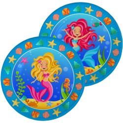 Assiettes sirènes, anniversair sirène, assiette des mers, décoration sirène, couverts en papier sirène, assiette, anniversaire s