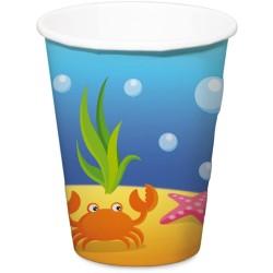 gobelets sirènes, anniversair sirène, gobelets des mers, décoration sirène, couverts en papier sirène, verre, anniversaire sirèn