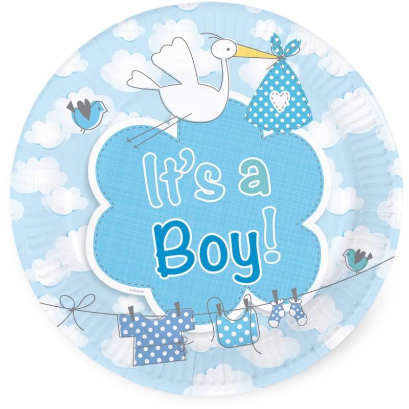 """Assiettes """"It's a boy"""", assiettes baby shower, assiettes bleues, assiettes garçons, assiettes papier garçon, couverts baby showe"""