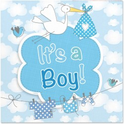 "Serviettes ""It's a boy"", serviettes bleues, serviettes baby shower, baby shower, bleu, assiettes bleues, serviette garçon , serv"