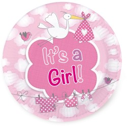 "Assiettes ""It's a girl"", assiettes naissance filles, assiettes baby showers, baby showers fille"