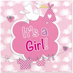 "Serviettes ""It's a girl"", serviettes fille, serviette bab showers fille, décoration  naissance fille, serviette cigone rose"