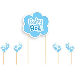 "Topper ""Baby boy"", décoration gar4on bleu topper baby showers naissance"
