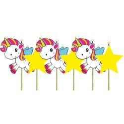 """Bougies """"Licorne"""" licorne anniversaire bougies décoration féérique fille étoile gâteau licorne 6 bougies"""