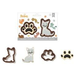 Emportes-pièces Chat, gâteau chat patte empreinte biscuits sablés chats chaton décoration chat
