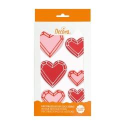 """Sucres """"Coeur géométriques"""" sucre décoration gâteau coeur rose rouge anniversaire love amour fête st-vallentin mariage"""