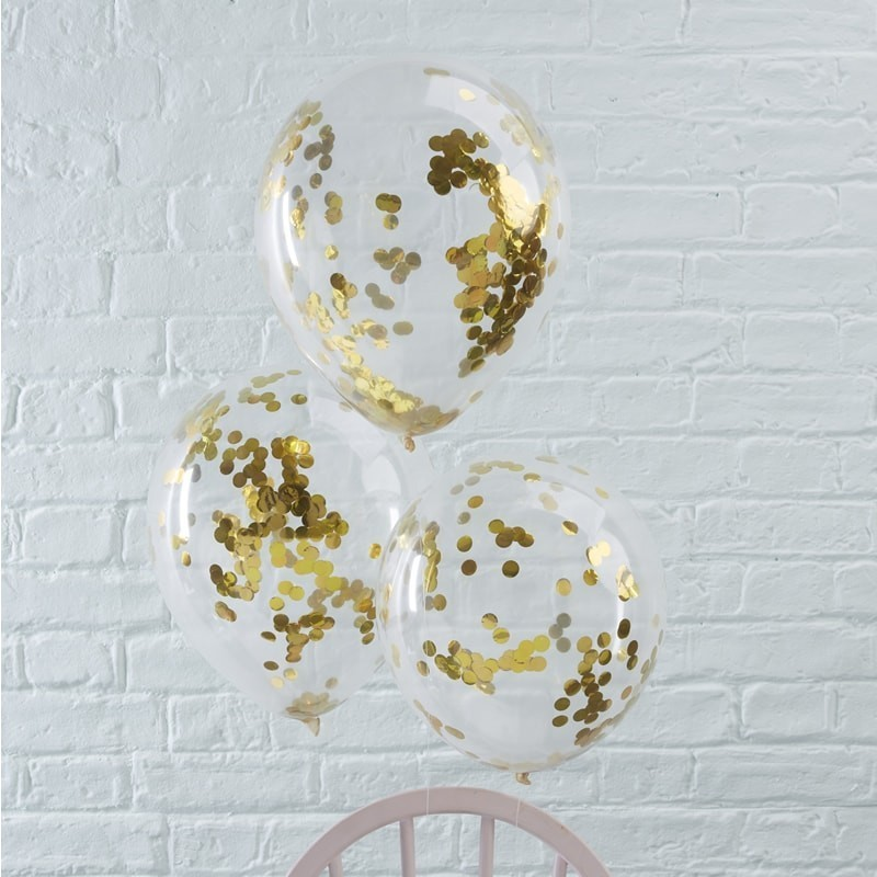 Ballons à confettis dorés anniversaire décoration ballon original or doré fête confettis mariage naissance