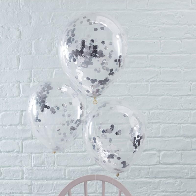 Ballons à confettis argentés anniversaire décoration ballon original gris argenté fête confettis mariage naissance