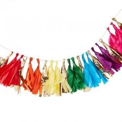 """Guirlande """"froufrou"""", décoration anniversaire multicolors fête mariage"""