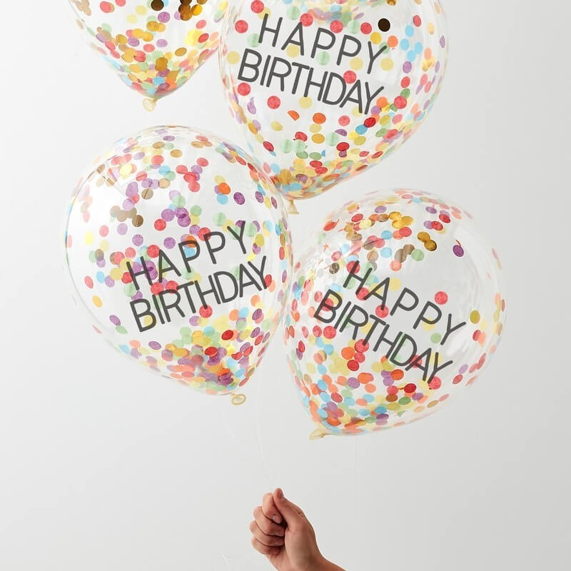 "Ballons ""Happy birthday"" à confettis, anniversaire décoration ballon confettis joyeux anniversaire happy bithday"