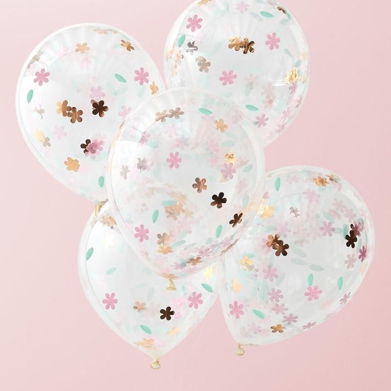 """Ballons """"Happy birthday"""" à confettis, anniversaire décoration ballon confettis Ballons """"Fleurs"""" à confettis"""