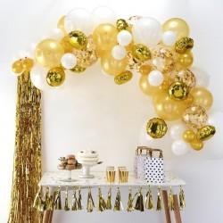 Arche de ballons dorée ballon or doré anniversaire décoration mariage naissance blanc