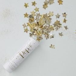 Canon à paillettes dorées étoile confettis doré or anniversaire mariage naissance décoration