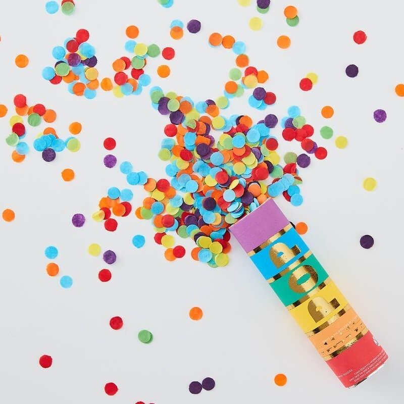 Canon à paillettes couleur arc-en-ciel confettis rouge  or anniversaire mariage naissance décoration