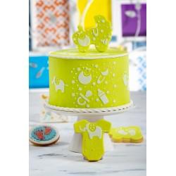 """Pochoir """"Bébé"""", fête baby shower gâteau décoration enfant biberon impressiom pieds bébé"""