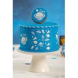 Pochoir Espace anniversaire enfant fête espace planettes lune galaxie
