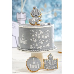 Pochoir chevalier décoration gâteau château anniversaire enfant