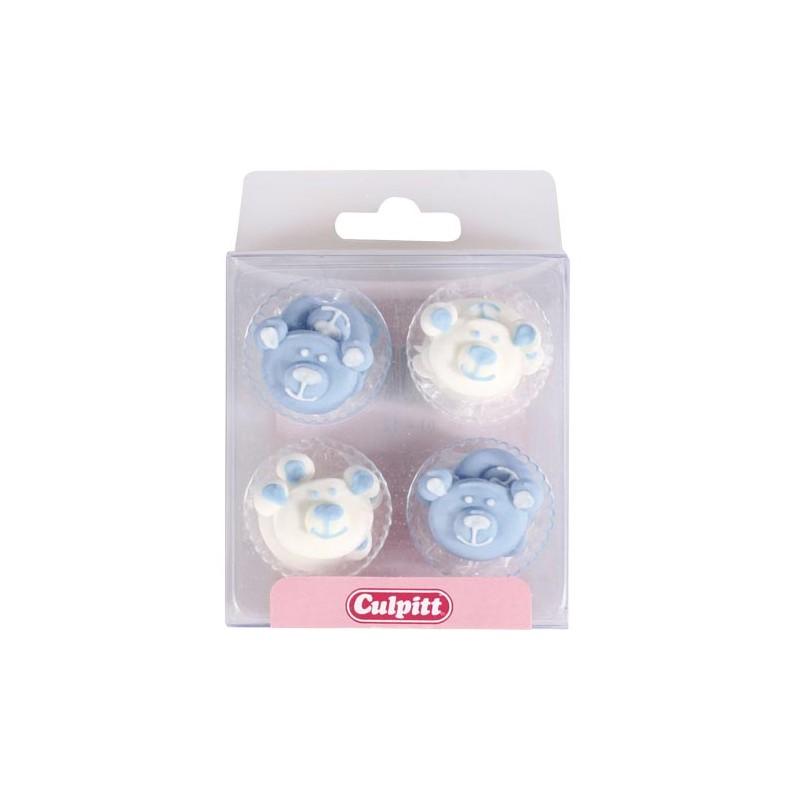 """Déco en sucre """"Baby Bears"""" blue - pk/12"""