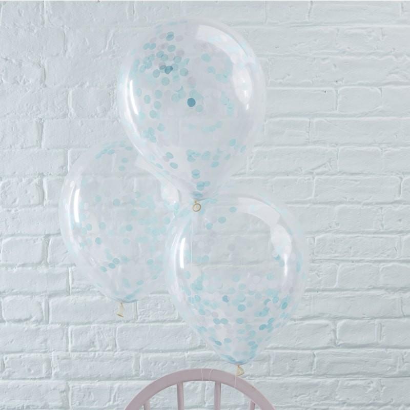Ballons à confettis bleu fête décoration anniversaire mariage bleu ballons