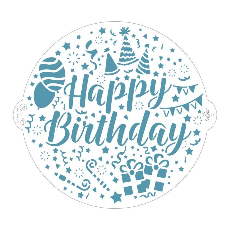 """Pochoir """"Happy Birthday"""" décoration gâteau anniversaire joyeux anniversaire"""