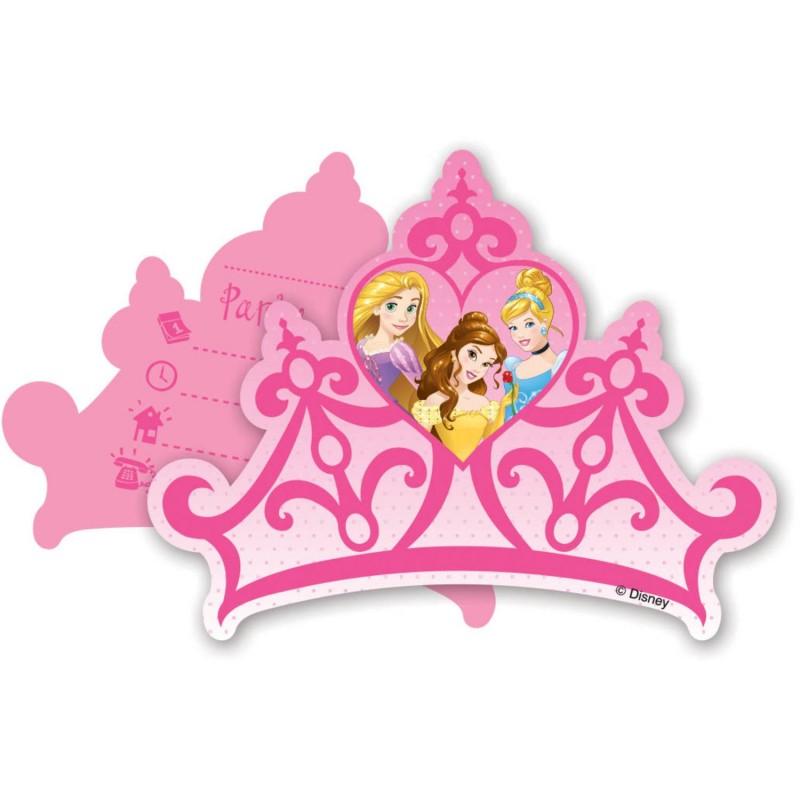 """Cartes d'invitation """"Princesse"""" anniversaire fête fille invitation carte couronne belle cendrillon raiponce"""