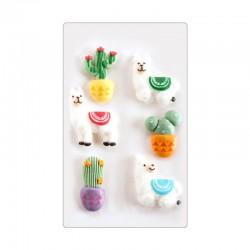 """Decos sucres """"Lama"""" alpaga sucre décoration gâteau anniversaire fête comestibles cactus"""