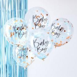 Ballons baby boy à confettis baby shower décoration fête bébé bleu garçon boy ballon confettis