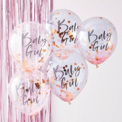 Ballons baby girl à confettis baby shower décoration fête bébé rose fille girl ballon confettis