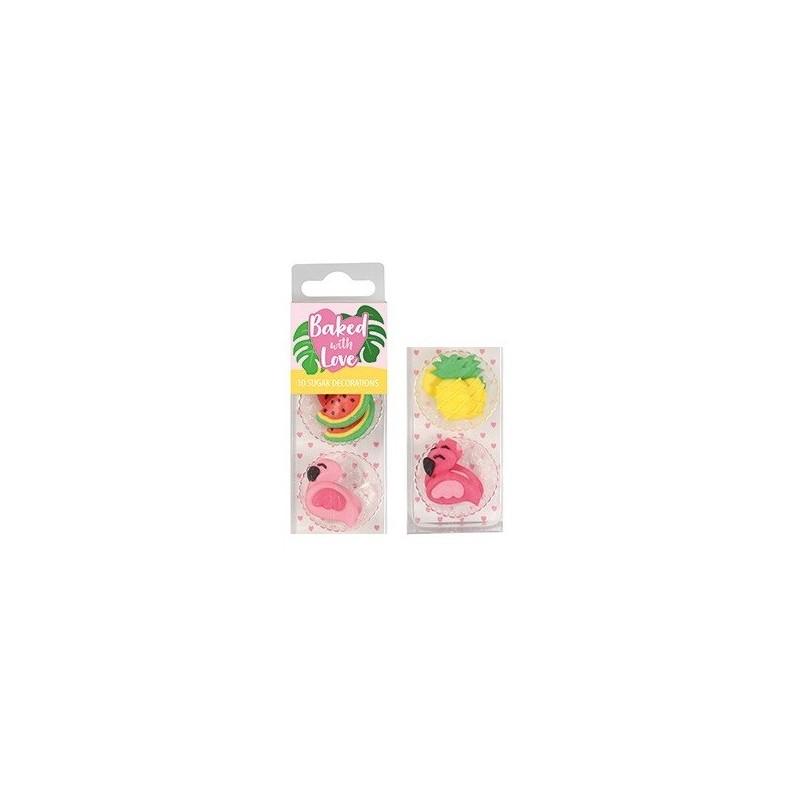 """Décos sucres """"été"""" comestible gâteau entremet flamant rose ananas pastèque cupcake sucre"""