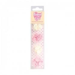 """Décos sucres """"fleur"""" gâteau entremet cupcake  rose blanc sucre"""