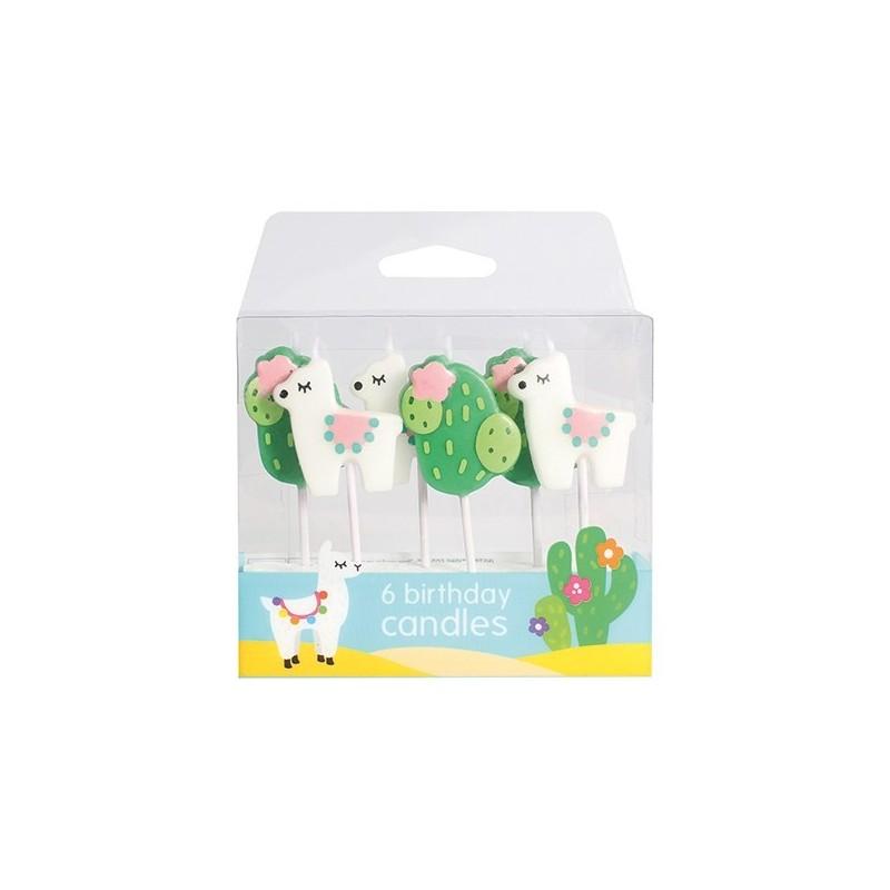 "Bougies ""Lama"", bougies alpaga, cactus anniversaire gâteau"