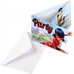 """Cartes d'invitation """"Miraculous"""" anniversaire lady bug rouge noir dessin annimé"""