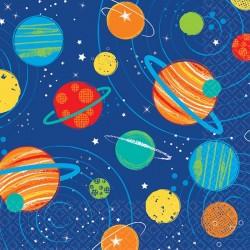 """Serviettes """"Galaxie"""" anniversaire galaxie fusée planette fête décoration couvert"""