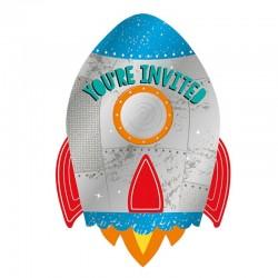 """Invitations """"Fusée"""" anniversaire galaxie carte planète"""