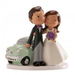 """Figurine mariage """"voiture"""" fête décoration gâteau couple voiture minion"""